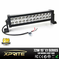"High Power 72W 15"" LED Light Bar Off-Road Spot Flood Work Truck 4X4 SUV ATV UTE"