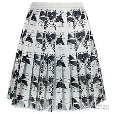 Christopher Kane Silvery Grey Laser-Cut Carnation Pleated Mini Skirt UK10 IT42