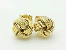 14k Italian Yellow Gold Love Knot Stud Earrings Italy 9mm