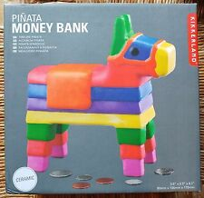 Kikkerland Pinata Money Bank - Colorful Ceramic Piggy Bank - New in Box!