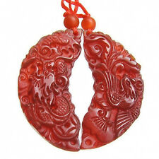 to do Pair Large Carved Half-moon Dragon / Phoenix Carnelian Amulet Pendant