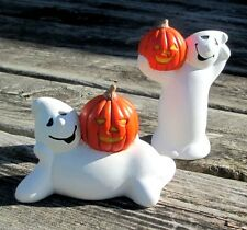 Halloween Decor Ceramic Ghosts Pumpkins Pair Hand Painted Artisan Crafted