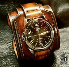 Leather Cuff Watch Brown Nathan Drake Custom made for you by Freddie Matara USA