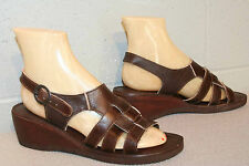8.5 M NOS Vtg 70s Brown Leather 3-STRAP Wood Wedge Heel WOVEN Hippie Sandal Shoe