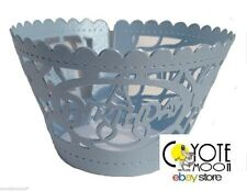 Laser Cut  Birthday Boys Cupcake Wraps Wedding Cup Cake Wrappers Holder Cases