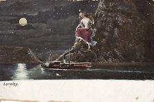 AK Loreley St. Goarshausen Rhein Schiff Mondscheinkarte 1906