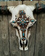 "Rustic Western resin cow skull w turquoise  jewels aztec  21"" × 13"" home decor"