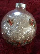Exceptional Glass VINTAGE Glitter BALL With Silver Confetti Christmas ORNAMENT