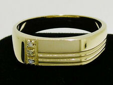 MR53 Genuine 9ct Yellow Gold MENS Natural Diamond SIGNET Ring size T