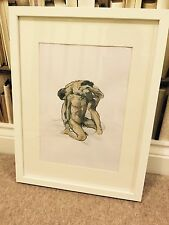 NUDE MALE Wrestle SIGNED ORIGINAL NOT PRINT painting Art gay penis Unframed