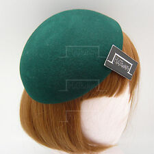 FASHION Wool Felt Ladies Beret Pillbox Hat Women DIY Plain Fascinator | Green