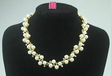 bj107 Betsey Johnson GP Clear Crystal & White Faux Pearl Necklace w/Tags