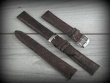 Cinturino in Pelle LS COCCODRILLO Bombato Opaco 18 mm Strap Band Testa di moro