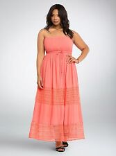 Torrid Coral Gauze Crochet Embroidery Tube Dress Sz 1 aka 14 16 or 1X #6088