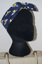 Bumble bees 40s land girl bow head scarf 50s pin up hair turban dolly bow navy