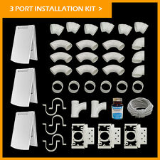 Central Vacuum 3 Inlet Installation Kit White Deluxe Full Door