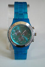 Fashion Designer Blue/Silver Finish Boyfriend  light weight stone Watch