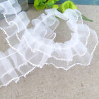 HOT DIY 1yd Ruffled Sewing Lace Ribbon White Tulle Pleated Gathered Trims