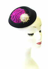 Hot Pink Black Gold Feather Pillbox Hat Fascinator Races Vintage Hair 1940s 1319