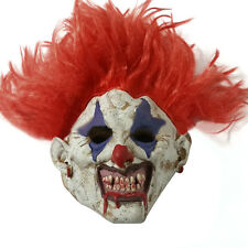 Scary Red Hair Evil Clown Joker Mask Latex Halloween Prop Horror Fancy Dress