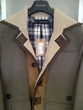 DSQUARED2 SHEARLING MONTONE LEATHER COAT JACKET! 100% NEW! RETAIL TAG 1442 EURO!