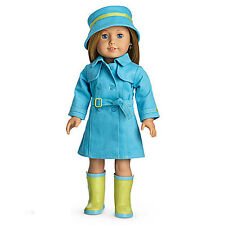"""American Girl MY AG RAINCOAT & BOOTS for 18"""" Dolls Jacket Blue Hat RETIRED NEW"""