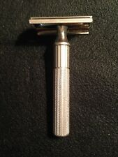 Vintage Gillette Fat Handle Silver Tone  Safety Razor 1940s Triangle Slots