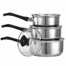VonShef 3 Piece Stainless Steel Cookware Set with Glass Lids