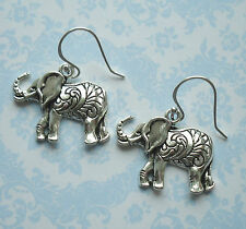 925 Sterling Silver Hook Earrings With Antique Finish Silver Elephant Charm