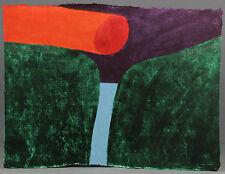 1977, Carol SUMMERS, original woodcut 6 colours, CORINTH Canal, one of 50 copies