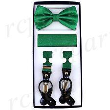 New in box Men's Vesuvio Napoli Suspenders Bowtie Hankie Stripes Glitter Green