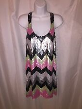 NWT authentic PARKER size SMALL silk racer back tank w/pink black gray sequins