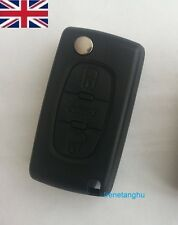 NEW UK Seller Replacement 3 button remote flip key fob case for Peugeot 407 607