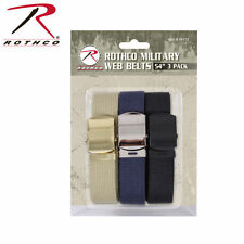 54 Inch 100% Cotton Military Web Belt 3 Pack With Buckles 44170 Rothco