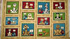 "Pet Rescue Dog Shelter Tan Blocks Fabric Panel 23"" Repeat   #8481"