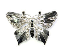 Butterfly Pin Brooch Gorgeous Black Crystal  Insect