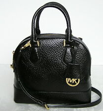 Michael Kors Smythe Small Dome Leather Satchel Bag Purse Crossbody Black New NWT