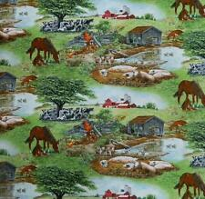 Patchwork Quilting Fabric FARM LIFE COWS HORSE Sewing Material Cotton FQ 50X55cm