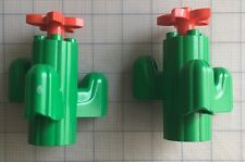 Lot Of 2 Lego Duplo Toy Green Cactus Plant With Red Petal Flower