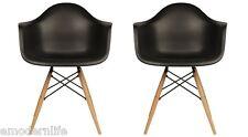 set of 2 DAW mid century modern dining arm chair black