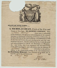 RARE Document- Certificate Isaac Young Commissioner NY Signed Nicholas Dean 1829