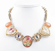 NWT BETSEY JOHNSON 'Lucky Charms' Love Bird Swan Rose Gold-Tone Frontal Necklace
