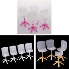 4x Pink & White Plastic Dinning Room Chairs for Barbie Doll House Furniture