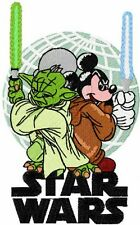YODA VS MICKEY MOUSE STAR WARS EMBROIDERED SET 2 BATHROOM HAND TOWEL BY LAURA