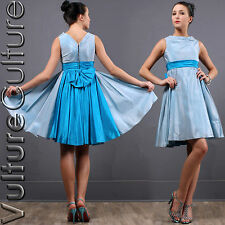 DEAL Vintage 50S Rockabilly PinUp Dress Blue Satin Full Crinoline Swing Party XS