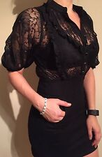 Ladies Black Miss Selfridge Lace And Denim Dress in Size 10