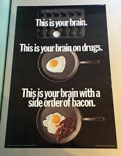 Your Brain on Drugs vintage poster frying pan egg side bacon 1980's commercial