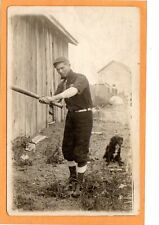 Real Photo Postcard RPPC - Baseball Player and Dog Outdoors
