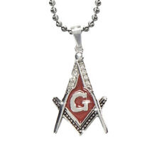 Steel Red Lodge Color Stainless Steel Blissful Pendant Masonic Symbol