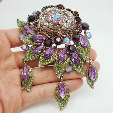 Vintage Style Art Deco Flower Rose Brooch Pin Pendant Violet Rhinestone Crystal